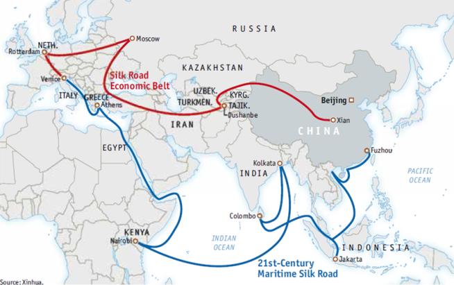 A Nova Rota da Seda chinesa por mar e terra (ilustração: AmCham Shanghai)